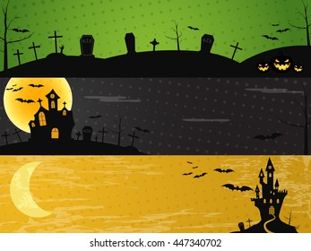 Three Halloween landscape banners. Green, dark and orange designs. Can be use on web, print. As invitation, flyer card, halloween poster etc. Creepy design for celebration holiday. Vector illustration