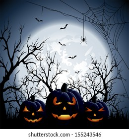 Three Halloween pumpkins on Moon background, illustration.