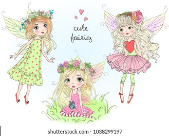 Three hand drawn beautiful cute little fairies girls with butterfly wings. Vector illustration.