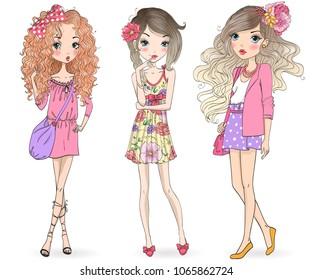 Three hand drawn beautiful cute cartoon summer girls. Vector illustration.