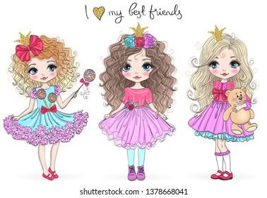 Three hand drawn beautiful cute little princess girls. Vector illustration.