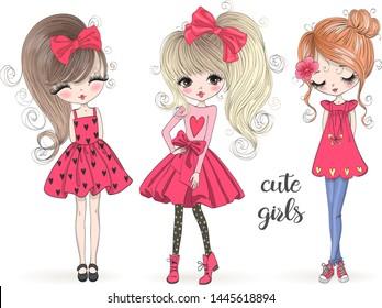 Three hand drawn beautiful cute girls. Vector illustration.