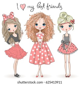 Three hand drawn beautiful cute girls on the background with the inscription I love my best friends. Vector illustration.