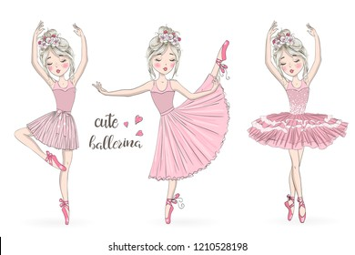 Three hand drawn beautiful, lovely, little ballerinas girl with wreaths. Vector illustration.