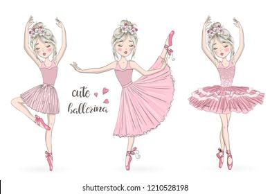 Three hand drawn beautiful, lovely, little ballerinas girl with wreaths. Vector illustration.