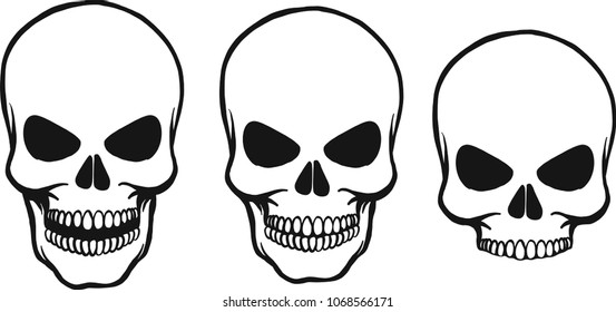 three hand drawn vector skulls isolated with pine and opened mouth