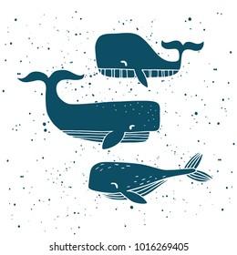 three hand drawn whales. vector illustration