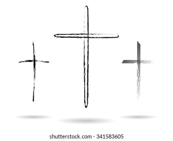 Three hand-drawn black crosses shapes, Christian crosses black silhouettes collection isolated over white background, latin cross set vector illustration