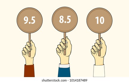 Three hands hold up scorecards. Competition, quiz, exam concept. Vector  illustration