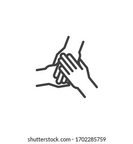 Three hands hold together line icon. linear style sign for mobile concept and web design. Solidarity, Unity hands outline vector icon. Symbol, logo illustration. Vector graphics