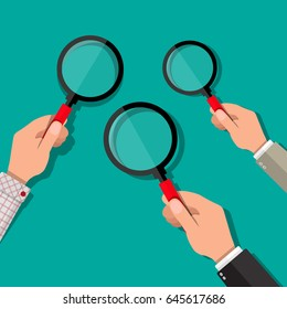 Three hands holding a magnifying glass. Searching, exploring, analysing concept. Vector illustration in flat style