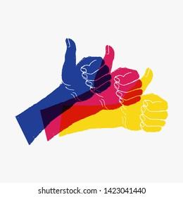 Three hands raised thumb up, illustration