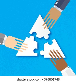 Three hands together team work. Hands of different colors, cultural and ethnic diversity. Business matching. Connecting puzzle elements. Make a puzzle on blue background. Vector illustration