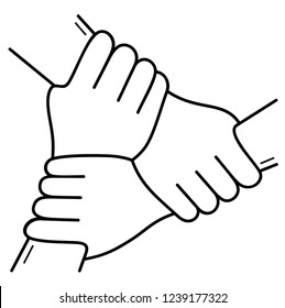 Three hands together. Vector flat outline icon illustration isolated on white background.