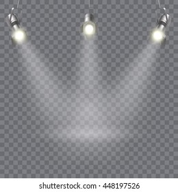 Three hanging spotlights design with direction of rays in one point on transparent background vector illustration