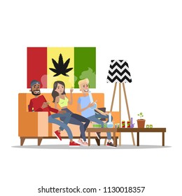 Three happy adults sitting on the couch and smoking weed or ganja. Bongs standing on the table. Drug addiction and unhelathy lifestyle. Isolated vector flat illustration