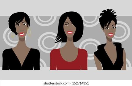 Three Happy African American Weman