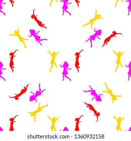Three happy girls jumping for joy. Seamless Wallpaper pattern.