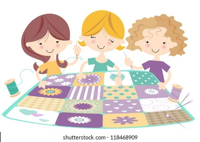 Three Happy Girls Quilting aÂ?Â? Sewing Bee Cheerful illustration with females creating a  patchwork quilt