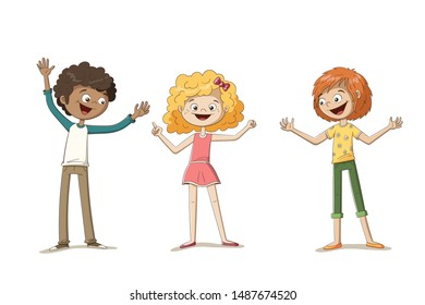 Three happy kids. Funny cartoon hand drawn character. Each on a separate layer.