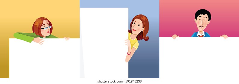 Three happy person looking for the poster. Vector, illustration, color