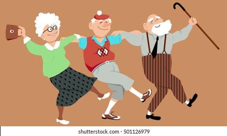 Three happy seniors dancing sirtaki or Zorba dance, EPS 8 vector illustration, no transparencies