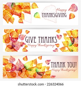 Three Happy Thanksgiving banners. Thanksgiving background design