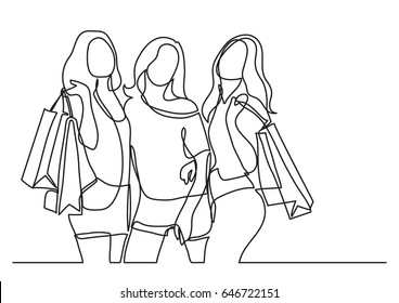 three happy women shopping - continuous line drawing
