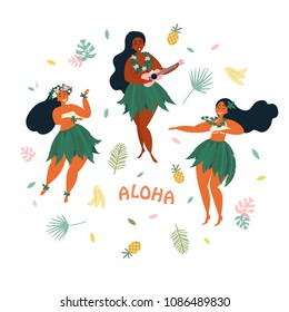 Three hawaiian girls are dancing and playing ukulele guitar. Aloha text. Greeting card. Hawaiian holidays poster with hula girl dancers with lei on the neck and in traditional costumes. Vector cartoon
