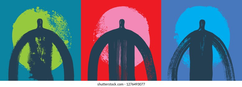 Three Head & Shoulders Silhouettes, Vector Illustration, Grunge texture, Colorful Background, Religion, People, Community Outreach, Figurative, Paint, Crisis Management, Banner Shape, Human Resources