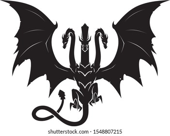 Three Headed Black Mythical Dragon
