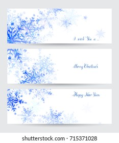 Three headers with abstract blue snowflakes