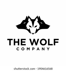 three heads of wolves, logo, icon and illustration