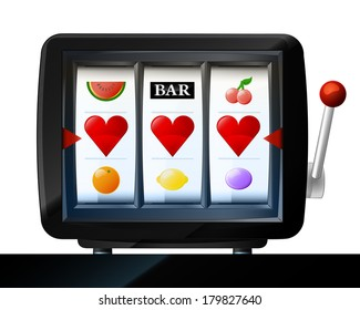 three heart items on play machine as love win vector illustration