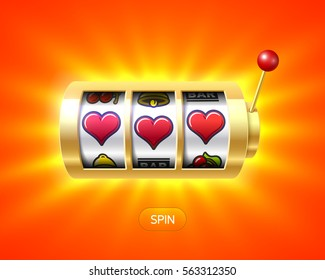 Three heart symbols on gold slot machine, Valentines Day concept, vector illustration