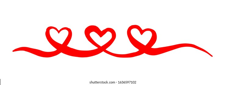 Three Hearts Valentine's Day swash hand painted with brush and ink, isolated on white background. Vector illustration.