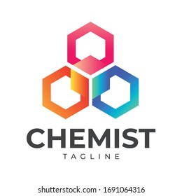 Three Hexagon Chemistry Logo with vibrant color and unique shape