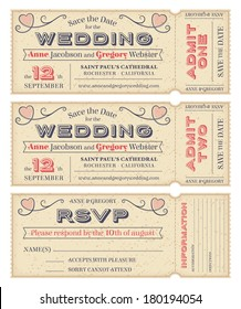 Three hi detail Vector Grunge Tickets for Wedding Invitations and Save the Date. Each ticket is on 4 different layers with Text, Decors, texture effect and background shape separated.