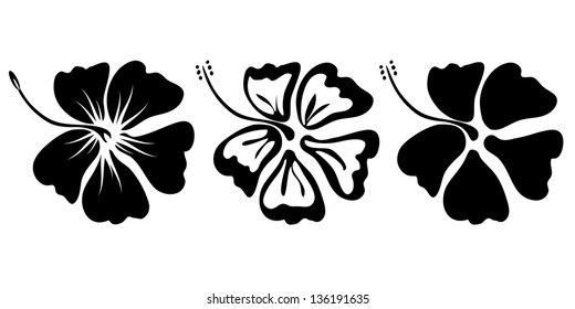 three hibiscus flower silhouettes for design vector