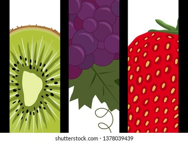 Three high headband containing illustrations of a kiwi, a black grape and a strawberry, three fruits framed in close-ups.