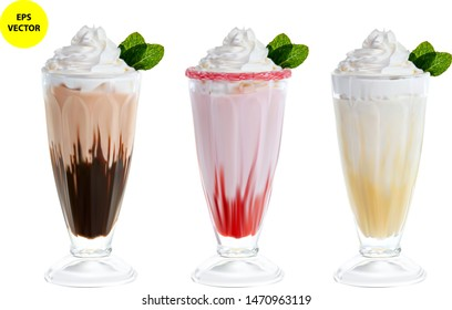 Three highly realistic milkshakes chocolate, vanilla and strawberry isolated on a white background