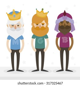 the three hipsters kings of orient on a white background. Trendy print design