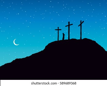 Three historic jew old holy tomb roods. Traditional lent crucified bible scene on dark blue backdrop. Black ink hand drawn picture in art retro graphic style with space for text on nighttime heaven
