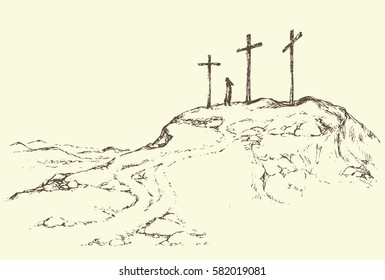 Three historic jew old tomb roods. Traditional lent crucified scene isolated on white backdrop. Outline black ink hand drawn picture sketch in doodle retro style pen on paper and space for text on sky