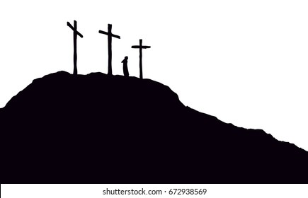 Three historic jew old tomb roods. Traditional lent crucified scene isolated on white backdrop.  Black ink hand drawn picture in retro engraving style with space for text on sky
