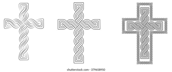 "Three historic medieval croatian traditional national interlace or wattle style crosses, so called ""Hrvatski pleter"". Line art vector."