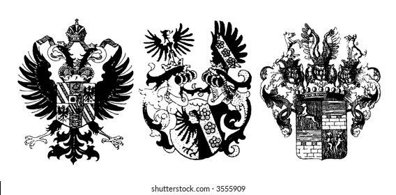 Three historical shields on white - can be used how background (vector, illustration)