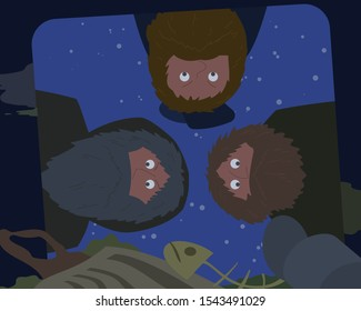 Three hobos look inside the garbage can at night vector cartoon