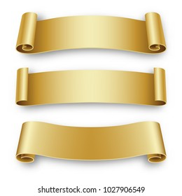 Three Holiday golden Ribbons for Birthday, Christmas, isolated on white background. Vector illustration.