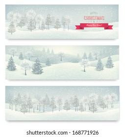 Three holiday landscape banners. Vector.